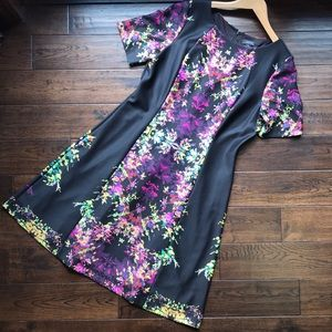 Tahari colorful floral dress with black background